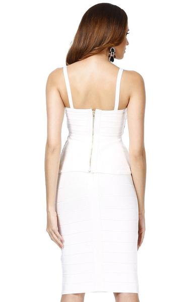 white peplum bandage dress - back view on model