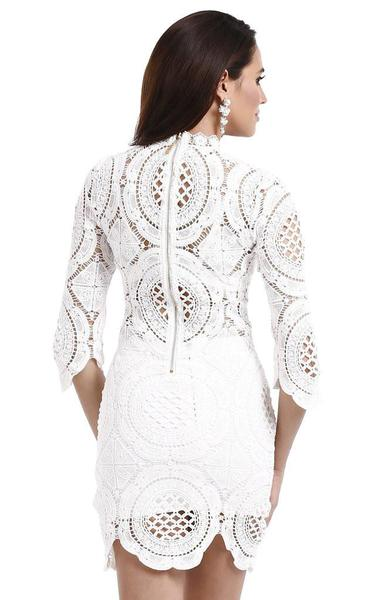 white crochet bandage dress - back view on model
