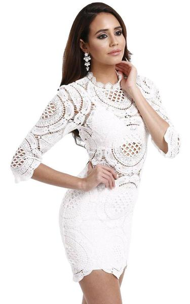 white crochet bandage dress - side view on model