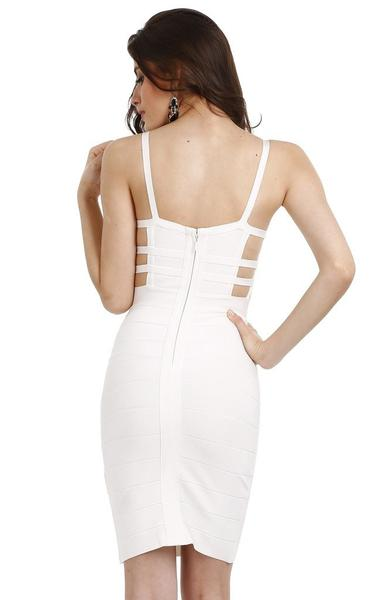 strappy white caged dress - back view on model