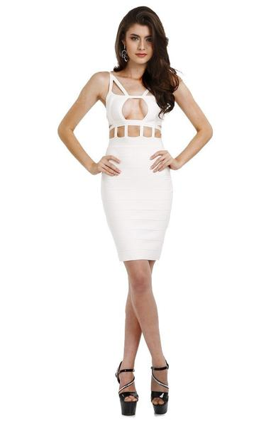 strappy white cage dress - full view on model