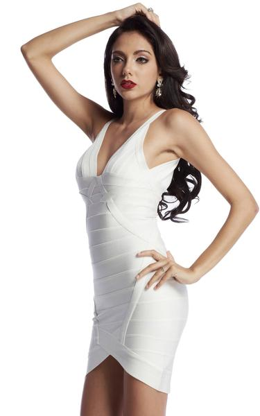 low cut white bandage dress - side view on model
