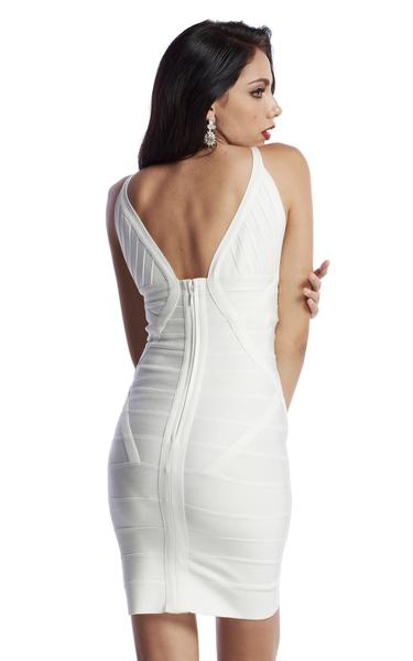 low cut white bandage dress - back view on model