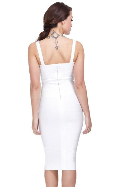 white midi bandage dress - back view on model