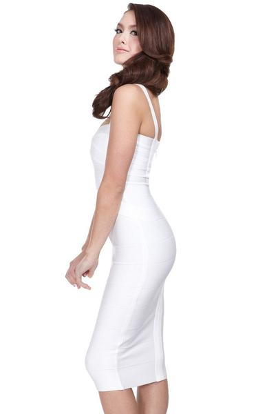 white midi bandage dress - side view on model