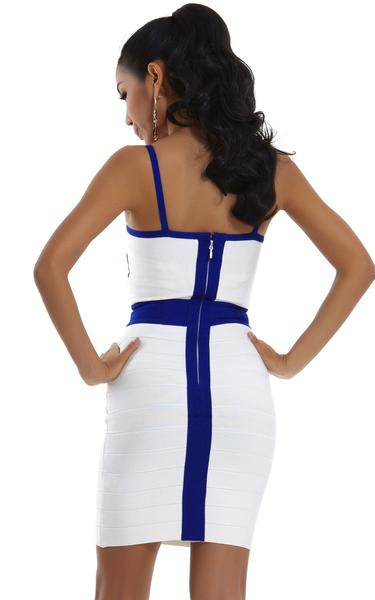 blue and white cocktail dress - back view