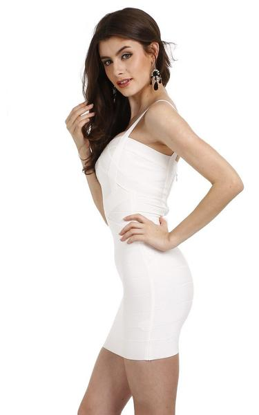 sexy white bandage dress - side view on model