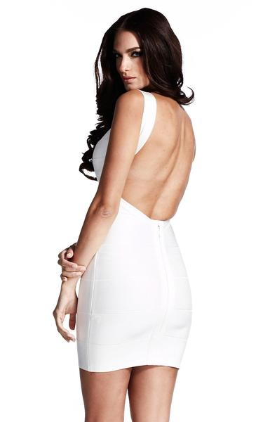 white backless bodycon dress - back view on model