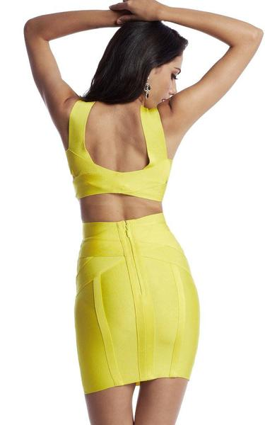 yellow backless bandage dress - back view on model