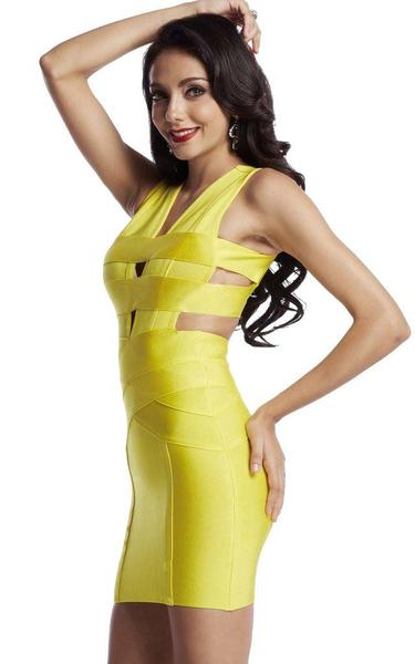 yellow backless bandage dress - side view on model