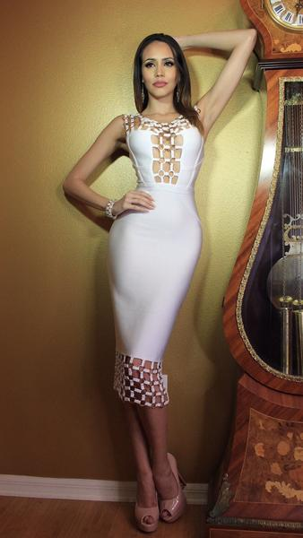 white caged bodycon dress - full front view on model