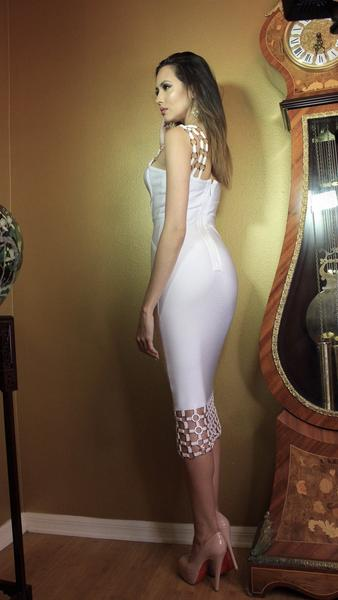 white caged bodycon dress - side view on model