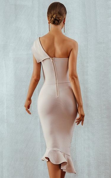 one shoulder beige midi bandage dress - back view on model
