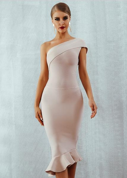 one shoulder beige midi bandage dress - front view on model