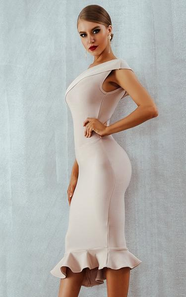 one shoulder beige midi bandage dress - side view on model