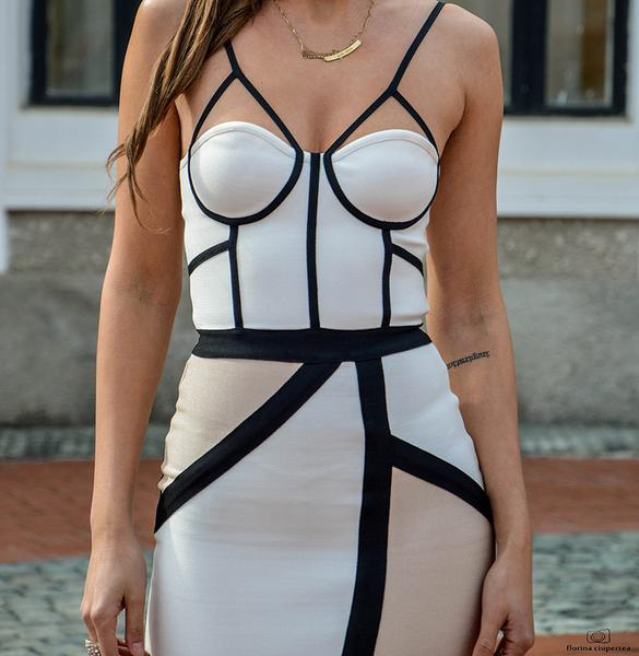 beige two tone bandage dress - close up