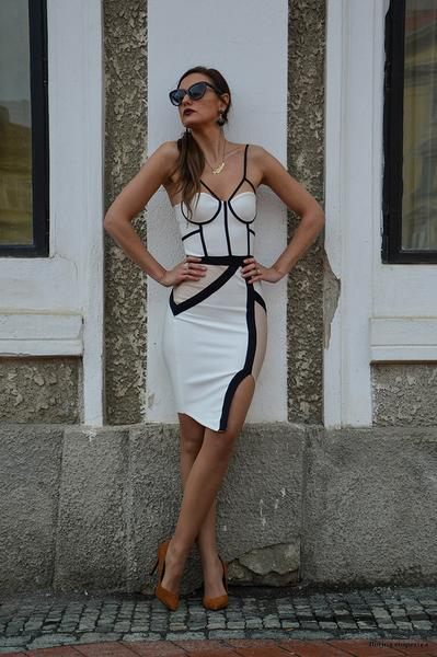 beige two tone bandage dress - front view