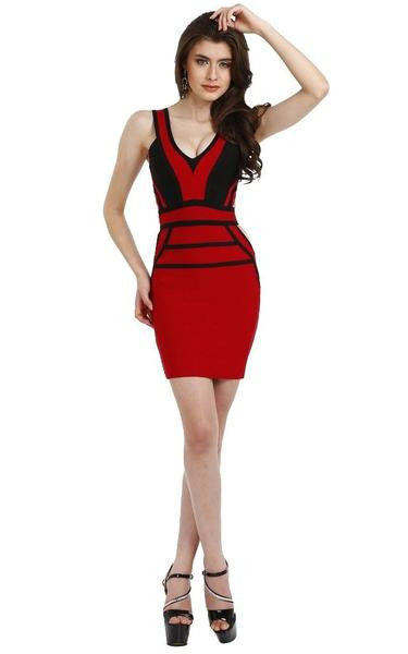 black and red party dress