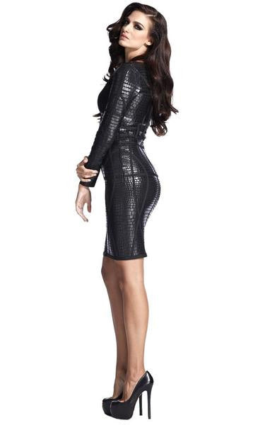 black front zip dress