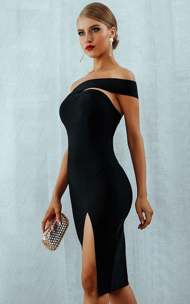 black high slit bandage dress - side view on model