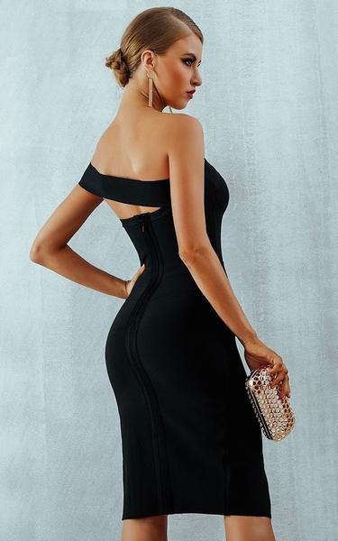 black high slit bandage dress - back view on model