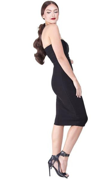 black strapless pencil dress