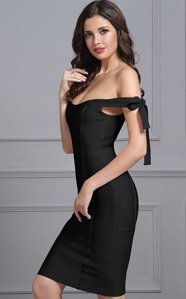 black off shoulder bow knot bandage dress on model - side view