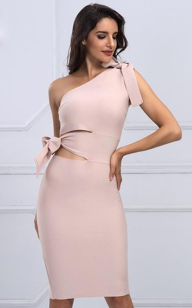 cut out bow know bandage dress - front view on model v2
