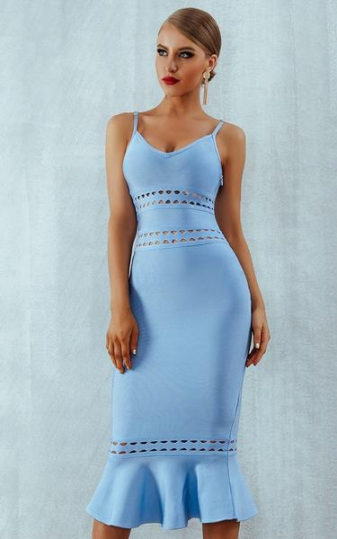 blue mermaid hem bandage dress - front view on model