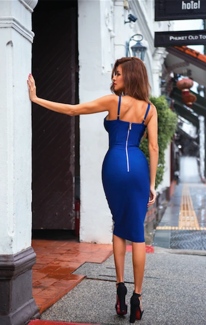 Blue button front bandage dress - back view