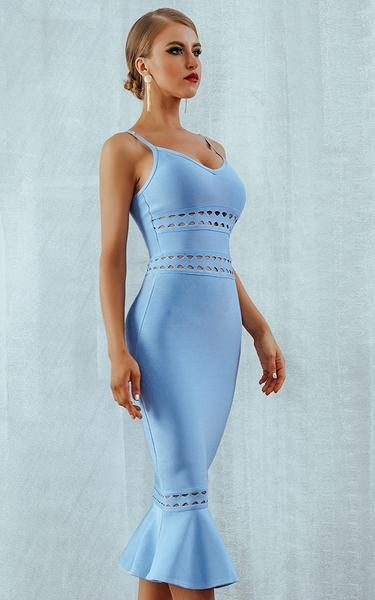 blue mermaid hem bandage dress - side view on model