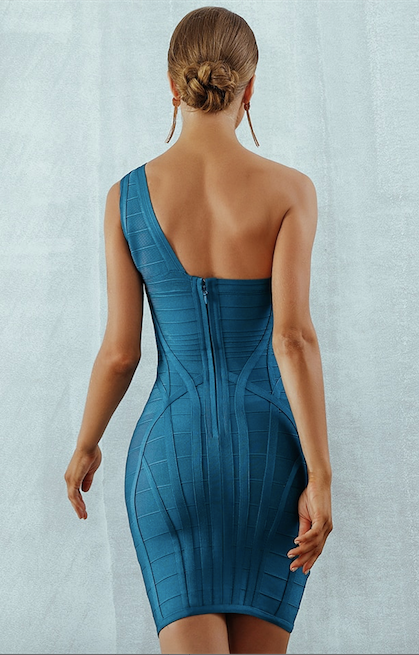 Blue ribbed one shoulder bandage dress - back view