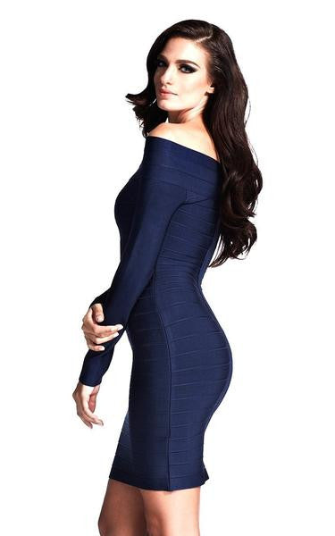 blue long sleeve bandage dress -side