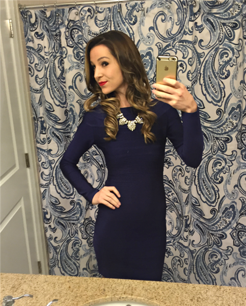 blue long sleeve bandage dress - selfie