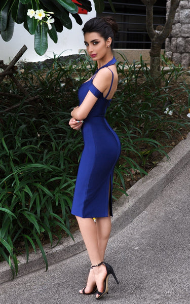 blue dress with black shoes
