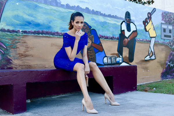 blue dress and nude shoes