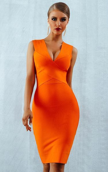 bright orange criss cross bandage dress