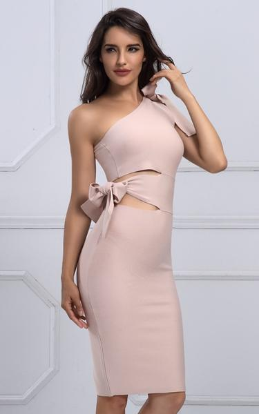 cut out bow know bandage dress - side view on model