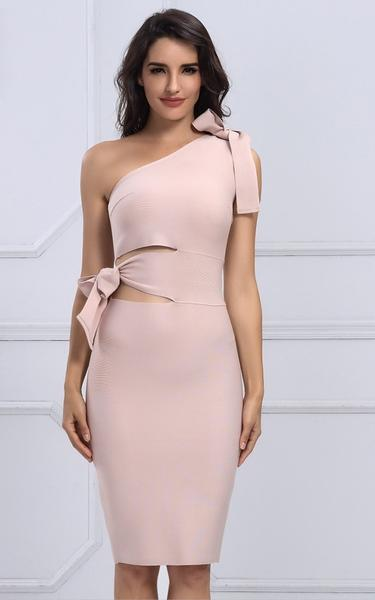 cut out bow know bandage dress - front view on model