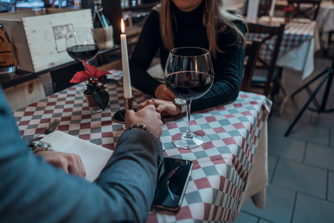 Couple holding hands on date