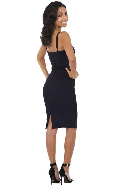 navy blue bodycon dress - back view on model