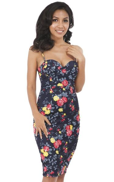 rose blue bodycon dress - front view on model