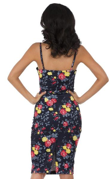 rose blue bodycon dress - back view on model