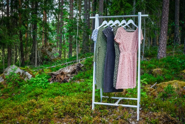 Eco friendly clothes hanging in a forest