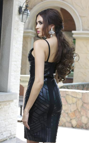faux leather mini dress - from side on model