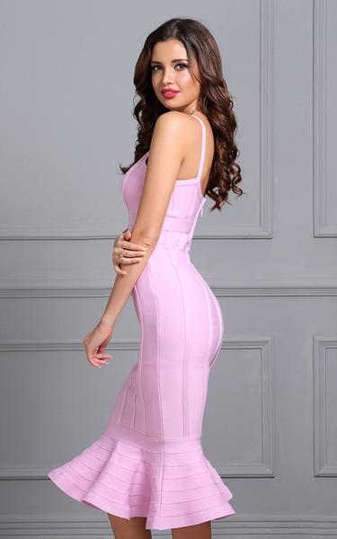 pink mermaid flared bandage dress - side view on model