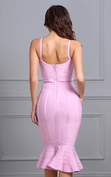 pink mermaid flared bandage dress - back view on model