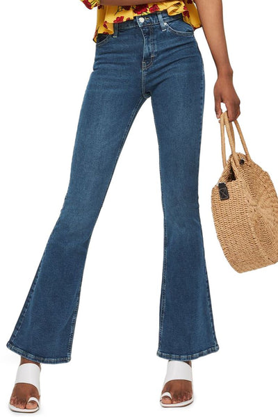flared jeans on model