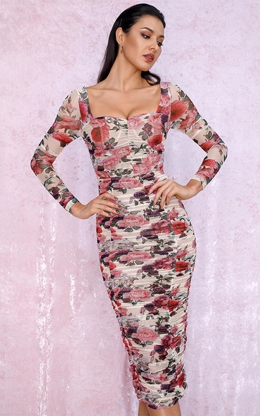 long sleeve floral bodycon dress in midi - front view on model