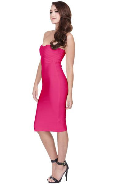 fuchsia strapless dress